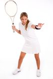 Front view of young tennis player ready to play Royalty Free Stock Photos