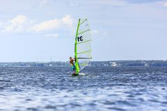 Front view of young windsurfer Royalty Free Stock Images