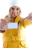 Front view of young woman showing business card Royalty Free Stock Images