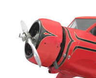 :  Front of a vintage red small airplane isolate. Stock Photography