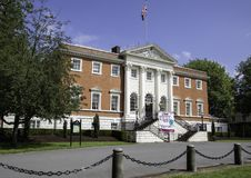The front of Warrington Hall located in Bank Park Warrington Che. Shire with the Union Flag flying May 2018 Stock Photos
