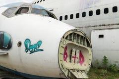 Front weißen Flugzeug wrekage Lizenzfreie Stockfotos