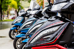 Front of Wet Motorcycles Stock Photography