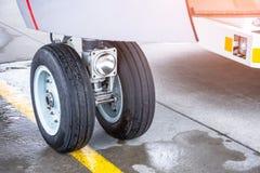Front wheel aircraft landing gear, close up royalty free stock photos