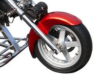 Front wheel of ancient motorcycle stock images