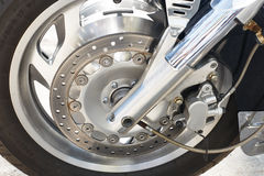 Front wheel of big motorcycle Stock Image