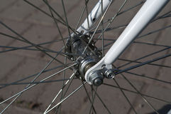 Front wheel of the bike. Bicycle hub. Closeup of a bicycle wheel.  Horizontal format Stock Image