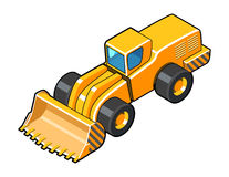 Front wheel loader axonometric icon. Classic front loader isometric view symbol. Color vector illustration Stock Photos