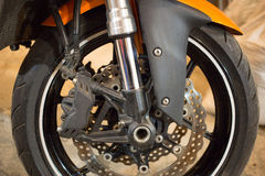 The front wheel of a motorcycle. Royalty Free Stock Photography