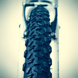 Front wheel of a mountain bike Royalty Free Stock Images