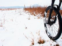 The front wheel of mountain bike in the first snow. Stock Images