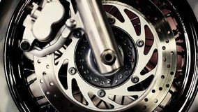The front wheel of a motorcycle stock footage