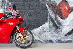 Front wheel of Sport Ducati Motorcycle Royalty Free Stock Photography