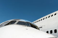 Front of white airplane wreckage Stock Photography