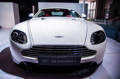 Front of white Aston Martin Royalty Free Stock Photo
