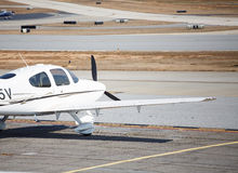 Front of White and Brown Prop Plane Royalty Free Stock Images