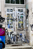 Front white door with graffiti in Berlin Stock Images