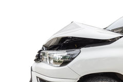 Front of white pickup car get damaged by accident on the road. I Stock Photos