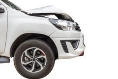 Front of white pickup car get damaged by accident on the road. I Stock Image