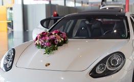 Wedding day with Porsche Panamera stock image