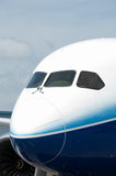 Front of wide-body airliner. Front with cockpit windows of wide-body airplane Royalty Free Stock Images