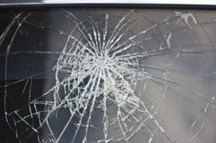 Front window the car crashed. Royalty Free Stock Images