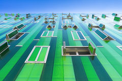 Green facade. Upward perspective Stock Photo