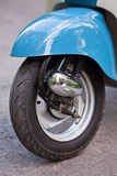 Front wing of blue retro scooter.  Royalty Free Stock Image