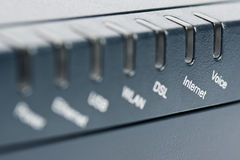 Front of wireless router - focus on Internet. Front side of the wireless router with focus on the Internet label Royalty Free Stock Photos
