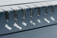 Front of wireless router with focus on WLAN. Front side of the wireless router with focus on the WLAN label royalty free stock photos