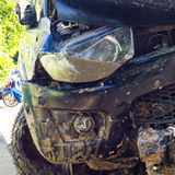 Front wrecked car accident. Royalty Free Stock Photography