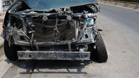 Front of Wrecked Car with Destroyed Body stock image