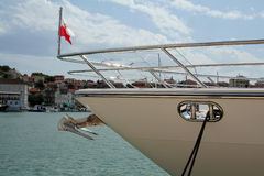 Front of yacht in the harbour. Front of yacht in Trogir (Croatia Stock Images