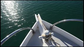 Front of a Yacht mooring at sea Royalty Free Stock Images