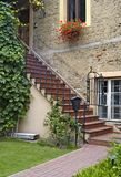 Front yard. Staircase to the private apartment in Vilnius old town, Lithuania Stock Image