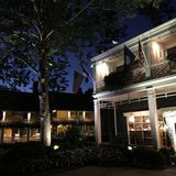 Front yard of a country inn. A lighted tree stands in the front yard of a country inn in Washington, Virginia stock photography