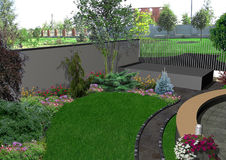 Front yard horticultural background, 3d render Stock Photos