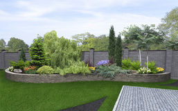 Front yard horticultural background, 3d render Royalty Free Stock Photos