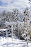 Front yard of a house in winter. Front yard of a house covered with snow in winter Toronto Royalty Free Stock Photography