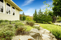 Front yard landscape design with rocks Royalty Free Stock Images