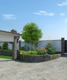 Front yard landscaping, 3d render Stock Images