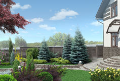 Front yard panorama plant groupings, landscaping 3D render Royalty Free Stock Image