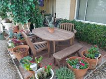 Front yard wood table royalty free stock images