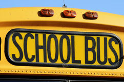 Front of a yellow school bus Stock Images