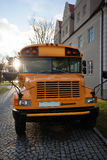 Front of Yellow School Bus. A parked yellow school bus royalty free stock images