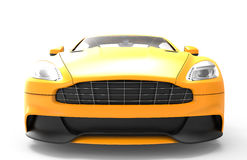Front of a  yellow sport car isolated on a white background Royalty Free Stock Images