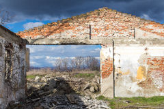 Frontage of an abandoned house without a roof Stock Photos