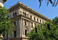 The frontage of a building in the city of Budapest royalty free stock photo