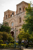 The Frontage of Cathedral of the Immaculate Conception in Cuenca, Ecuador. The front part of Cathedral of the Immaculate Conception in Cuenca in Ecuador stock photos