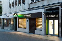 Frontage of the Goldsmiths jewellery store at night Stock Photography